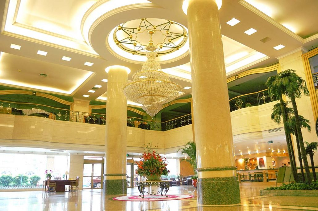 Hotel lobby with LED lighting options that save 90% on energy bills
