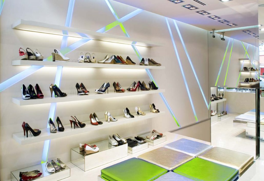 LED lighting in a fashion shopping retail outlet