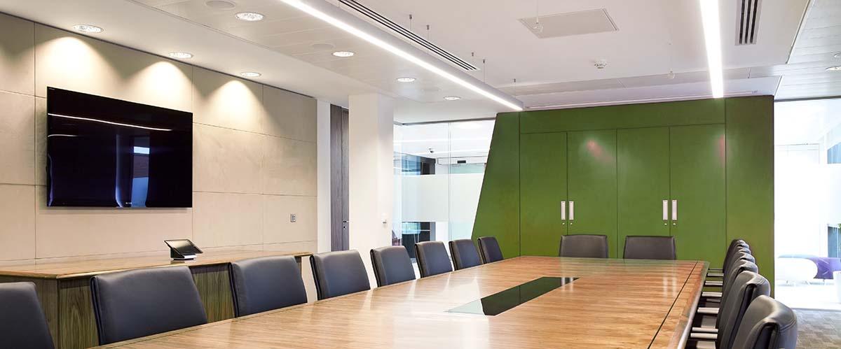 Meeting room energy savings with LED lighting solutions UK